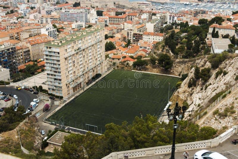 Topview Soccer Pitch Marseille France royaltyfri fotografi