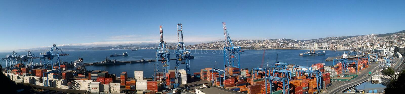 Topview van Valparaiso-Haven, Chili stock fotografie