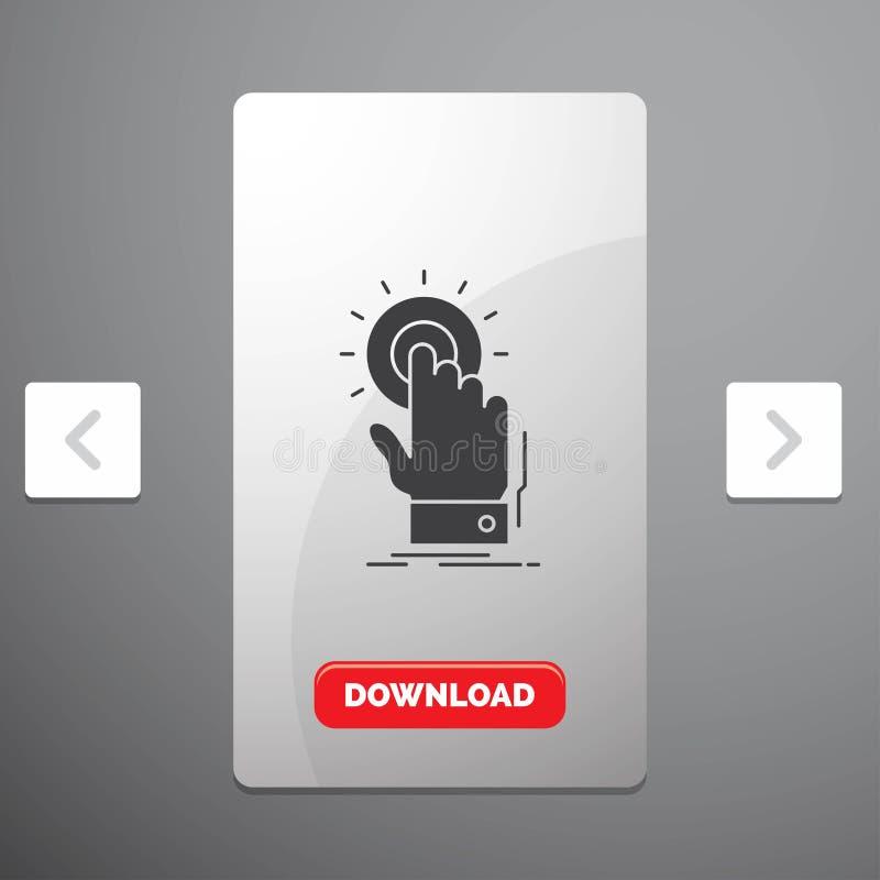 toque, clique, mão, sobre, ícone do Glyph do começo no projeto do slider das paginações do Carousal & botão vermelho da transferê ilustração stock