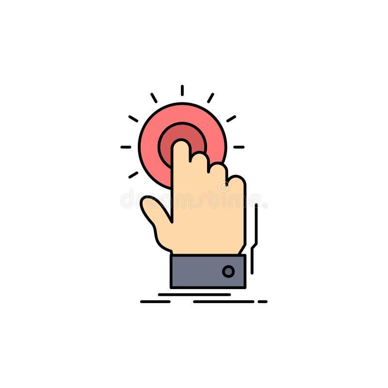 toque, clique, mão, sobre, vetor liso do ícone da cor do começo ilustração stock