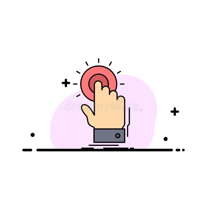 toque, clique, mão, sobre, vetor liso do ícone da cor do começo ilustração do vetor