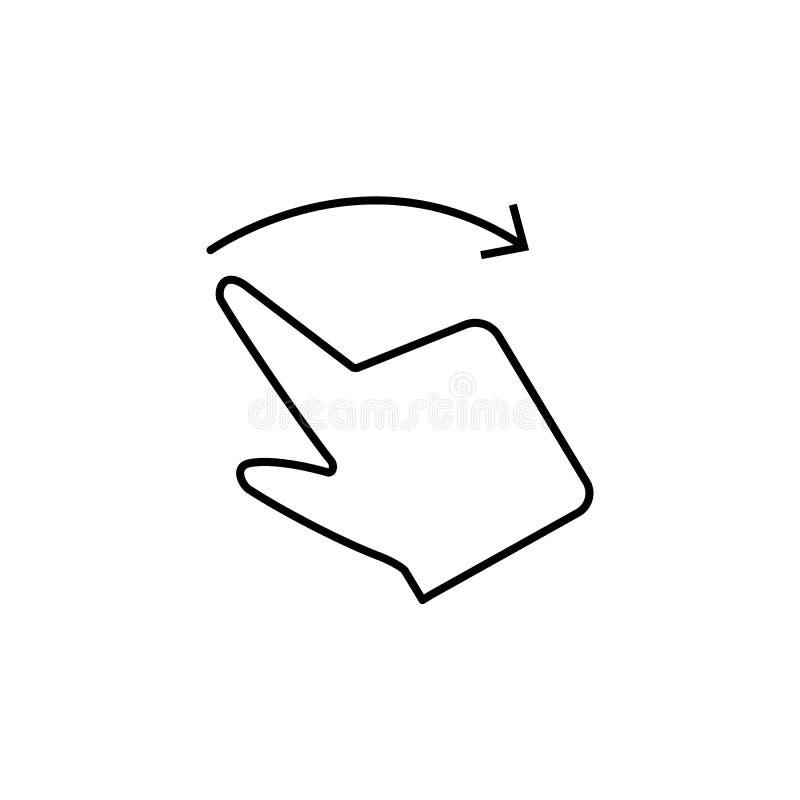 Toque, dedo, arrasto, mão, ícone da tela Elemento do ícone da corrupção Linha fina ?cone no fundo branco ilustração royalty free