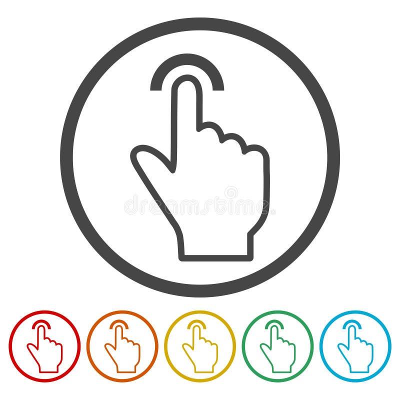 Toque el icono, tecleo, etiquetas engomadas de la mano fijadas ilustración del vector