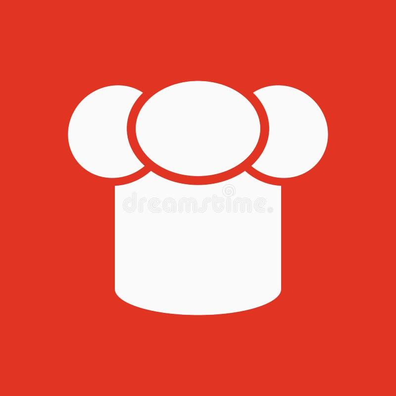 Toque ikona Szefa kuchni i kucharza symbol mieszkanie ilustracja wektor
