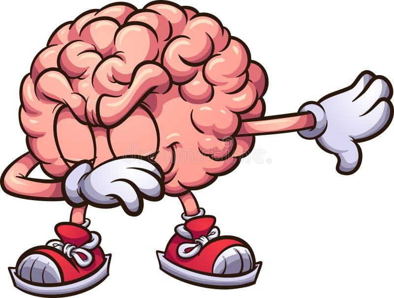 Toque ligeiro cor-de-rosa do cérebro dos desenhos animados ilustração royalty free