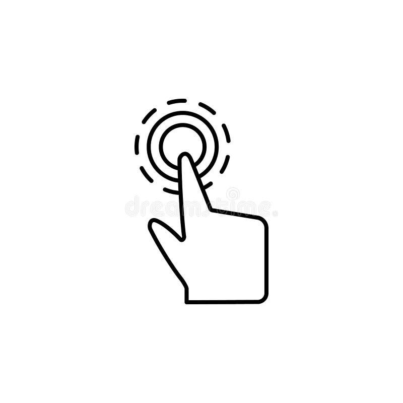 Toque no ícone livre, interativo, digital Elemento do ícone da corrupção Linha fina ?cone no fundo branco ilustração stock