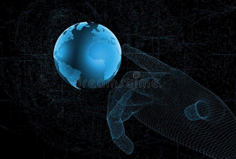 Toque no futuro, na ilustração do sentido da ciência e na tecnologia ilustração 3D ilustração do vetor