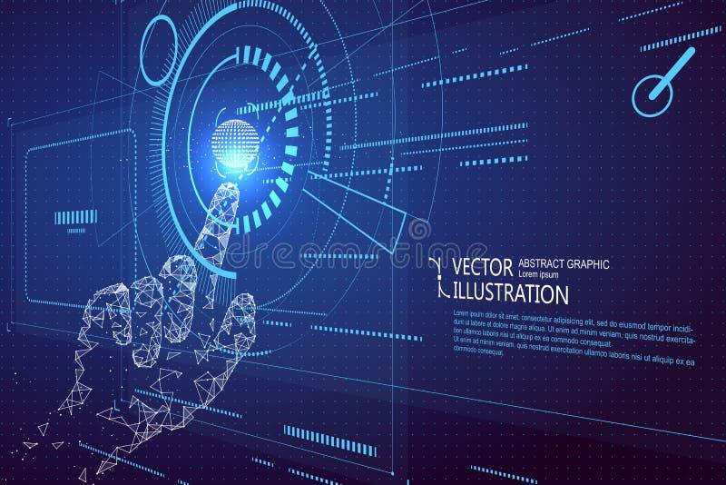Toque no futuro, tecnologia da relação, espaço tridimensional, o futuro da experiência do usuário ilustração royalty free
