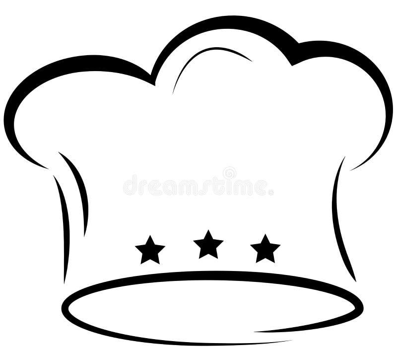 Toque szefa kuchni ` s kapeluszowa ikona z trzy gwiazdami royalty ilustracja