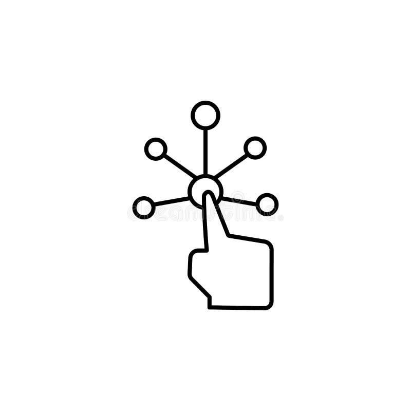 Toque, ui, interativo, ícone do dedo Elemento do ícone da corrupção Linha fina ?cone no fundo branco ilustração royalty free