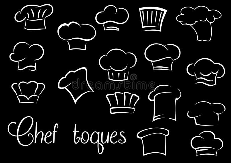 Toques de chef et chapeaux de boulanger sur le fond noir illustration libre de droits