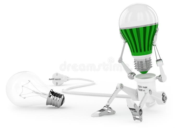 A torção da lâmpada do robô conduziu a lâmpada na cabeça. ilustração stock