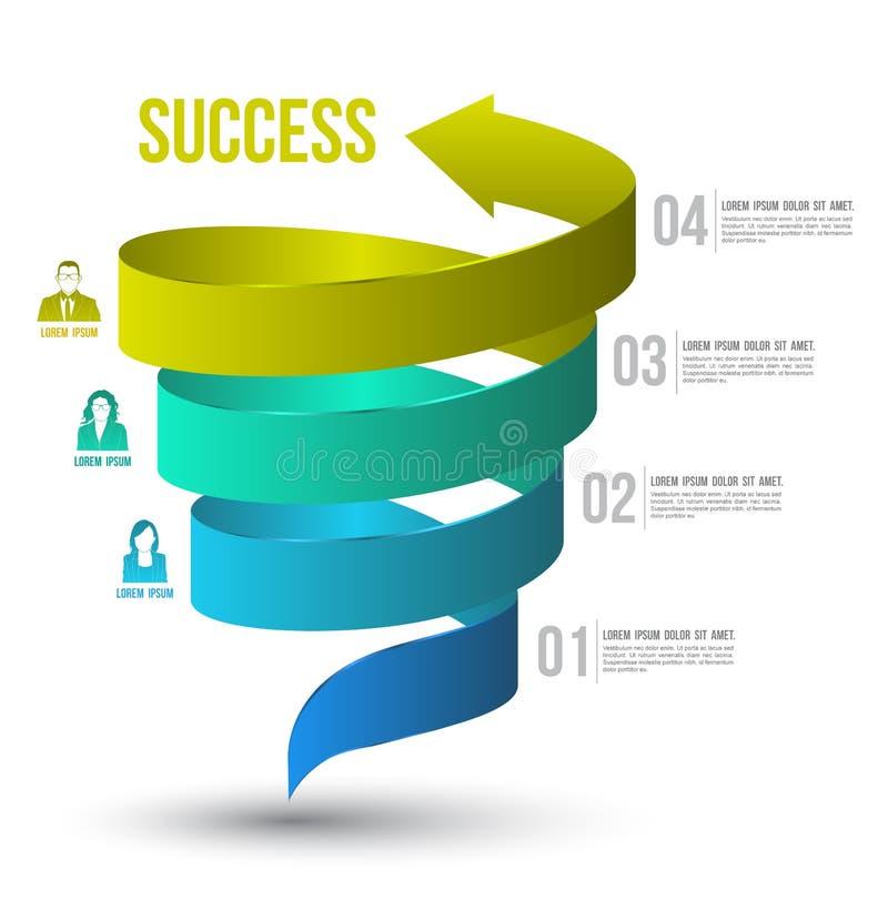 Torção da seta até opções do número do sucesso com ícones ilustração stock