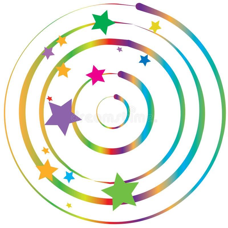 Torção do inclinação & estrelas coloridas ilustração stock