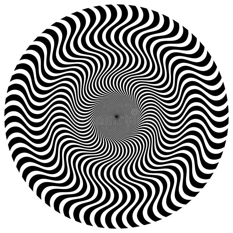 Torção, forma espiral com círculos Elemento pontilhado de giro Resumo ilustração stock