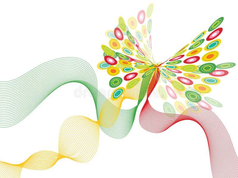 Torção verde e vermelha da borboleta ilustração stock
