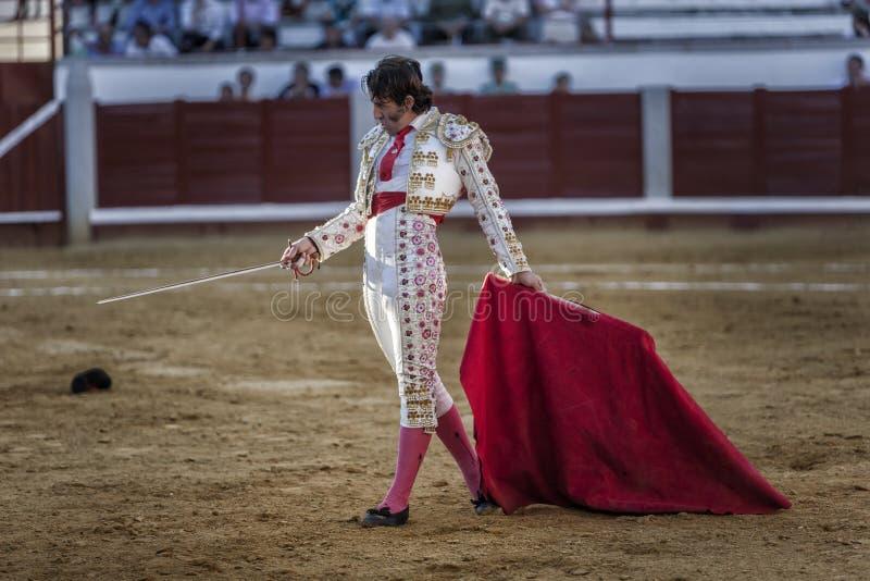 Toréador espagnol Juan Jose Padilla marchant très lentement incitant le taureau avec la béquille dans l'arène de Pozoblanco photo stock
