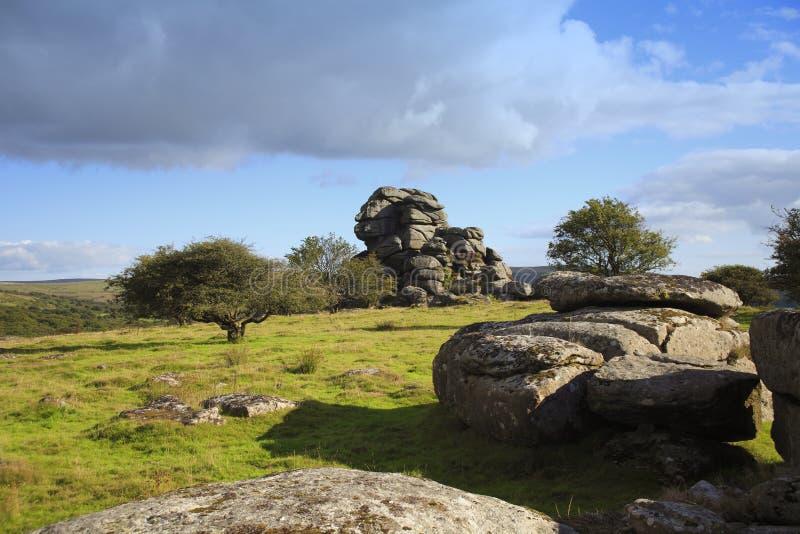 Tor del Vixen, parque nacional Devon del dartmoor fotografía de archivo