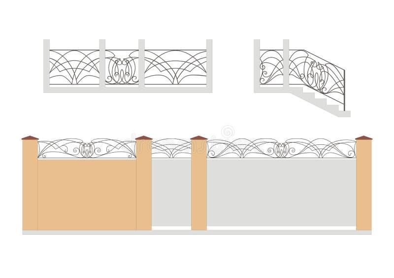 Tor, Tor, Treppenhaus und Zaun stock abbildung