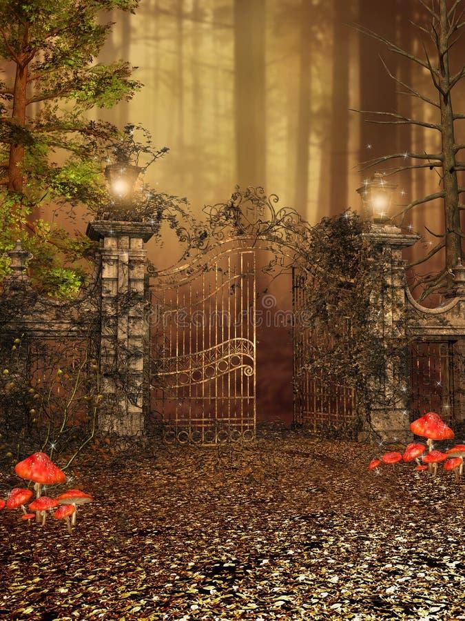 Tor zu einem Herbstwald lizenzfreie abbildung