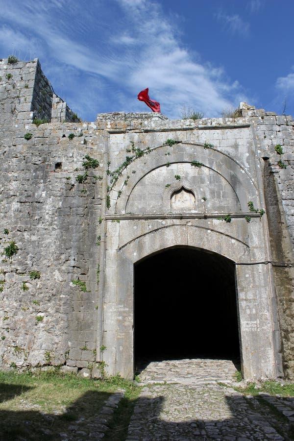 Tor zur Festung Rozafa in Shkoder, Albanien stockbilder