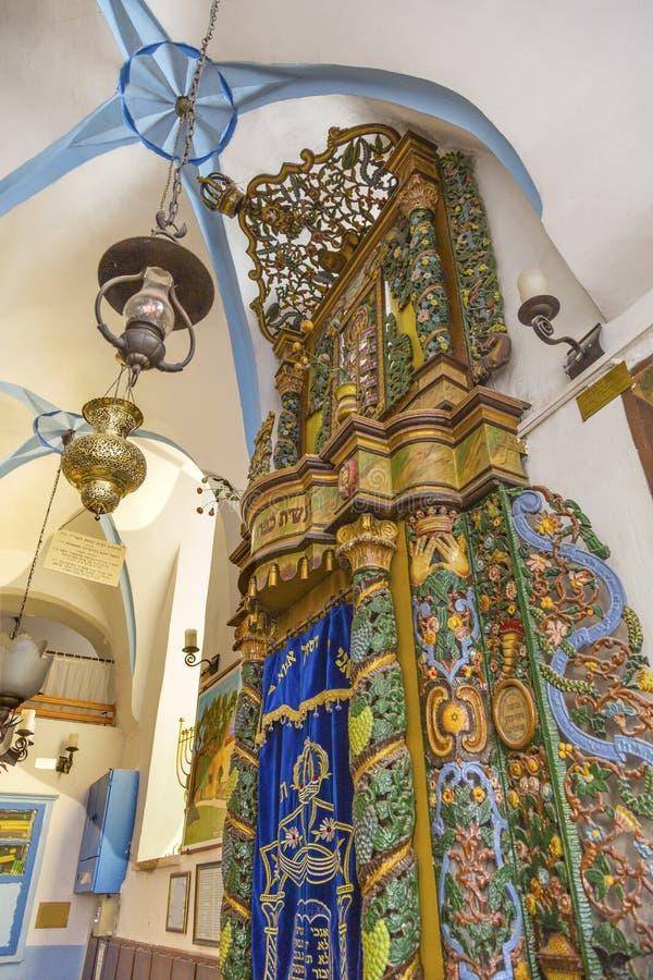 Torah-Arche Aschkenase Ari Synagogue Safed Tsefat Israel stockfotos