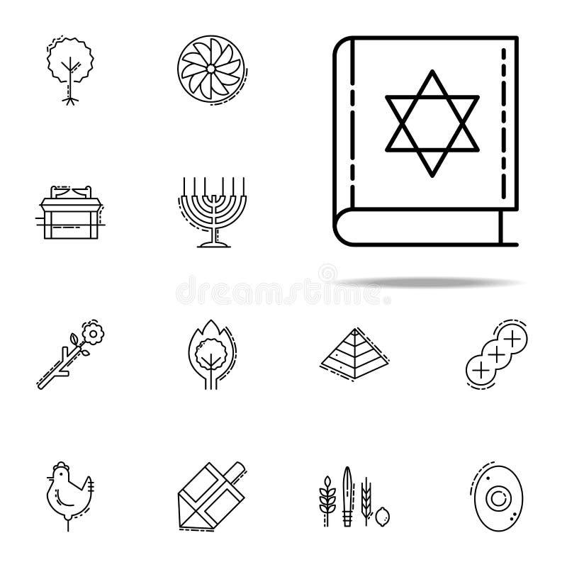 Torah boksymbol Universell uppsättning för judendomsymboler för rengöringsduk och mobil stock illustrationer