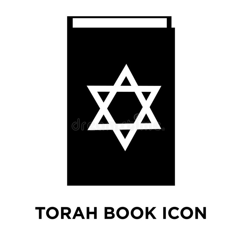 Torah Book icon vector isolated on white background, logo concept of Torah Book sign on transparent background, black filled royalty free illustration