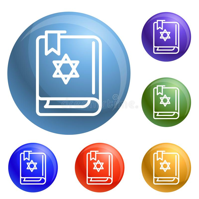 Torah book icons set vector vector illustration