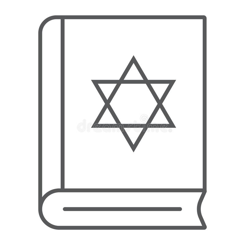 Torah book thin line icon, israel and religion, jewish book sign, vector graphics, a linear pattern on a white vector illustration