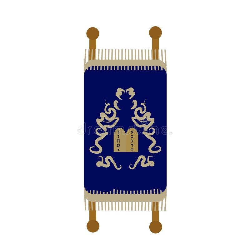 Torah-Ikone, flach, Karikaturart Rolle lokalisiert auf weißem Hintergrund Vektorillustration, Clipart stock abbildung