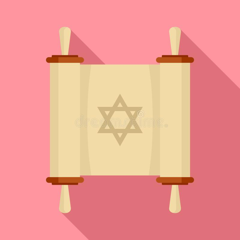 Torah papyrus icon, flat style stock illustration