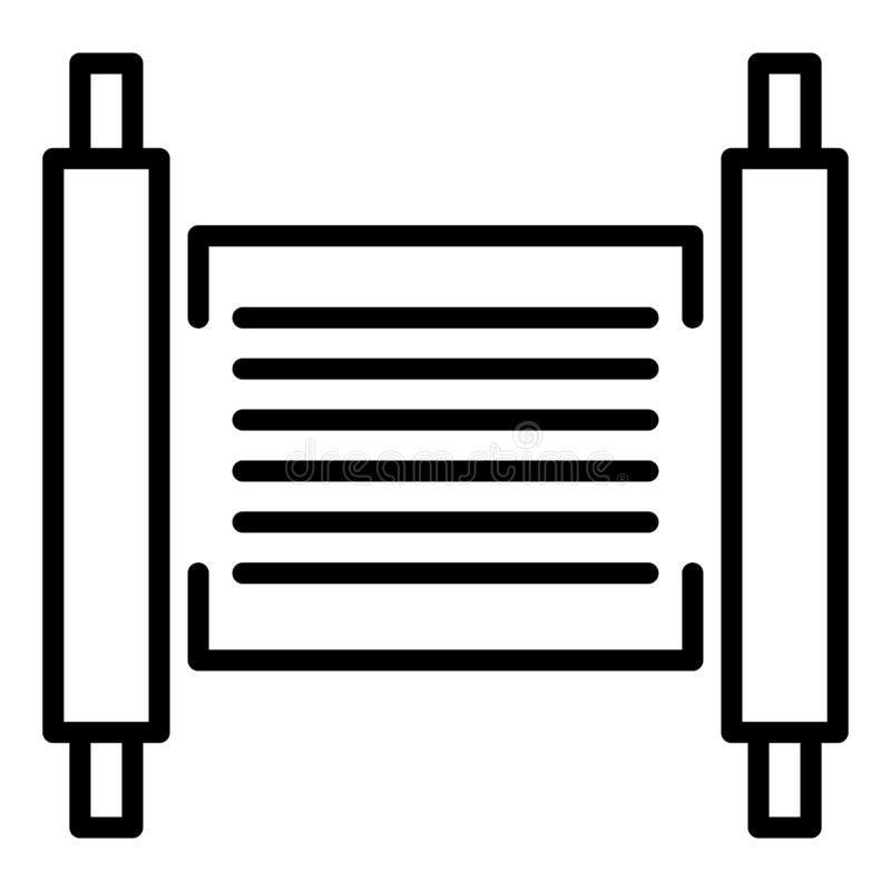 Torah papyrus icon, outline style vector illustration
