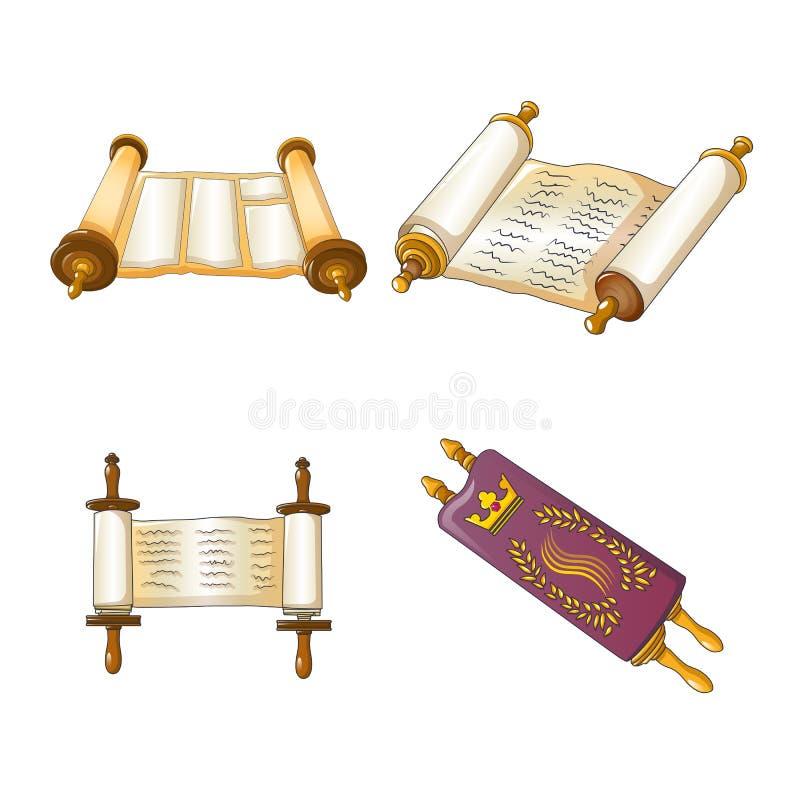 Torah scroll bible icons set, cartoon style stock illustration