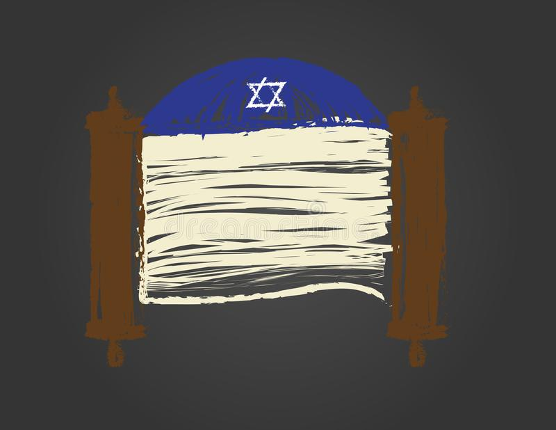 Torah scroll and Blue kippah on black background royalty free illustration