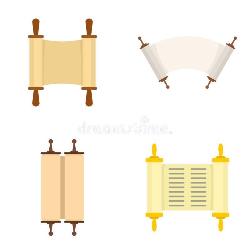 Torah scroll book bible icons set, flat style royalty free illustration