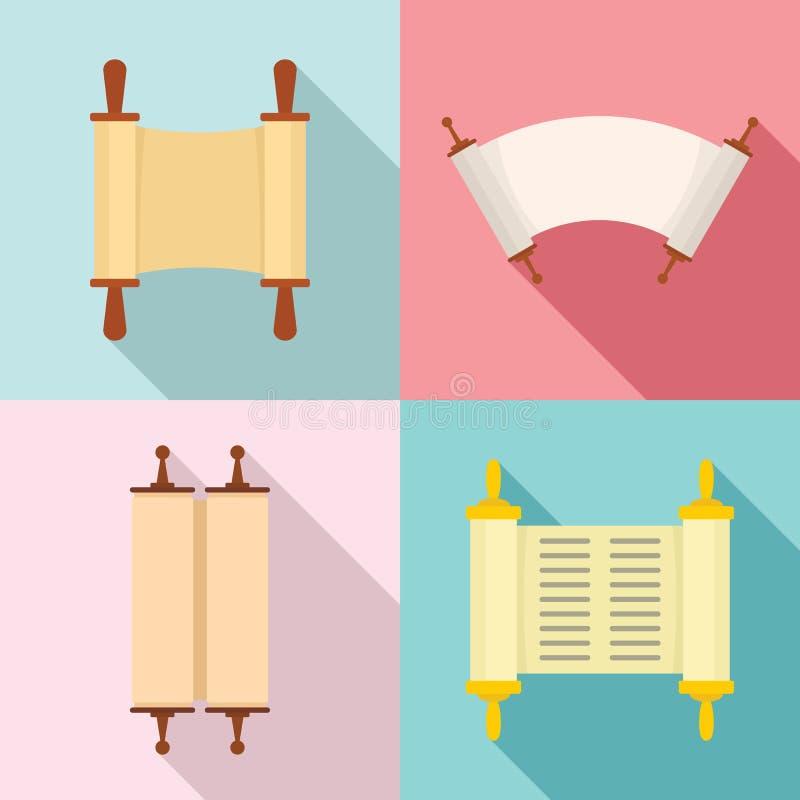 Torah scroll book bible icons set, flat style vector illustration