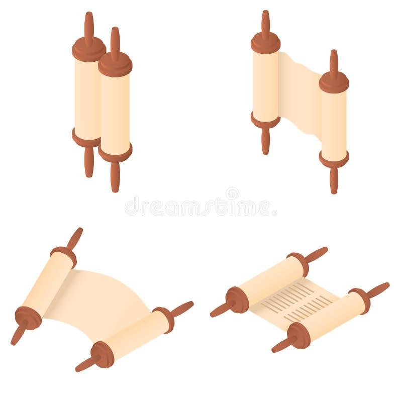 Torah scroll bible icons set, isometric style stock illustration
