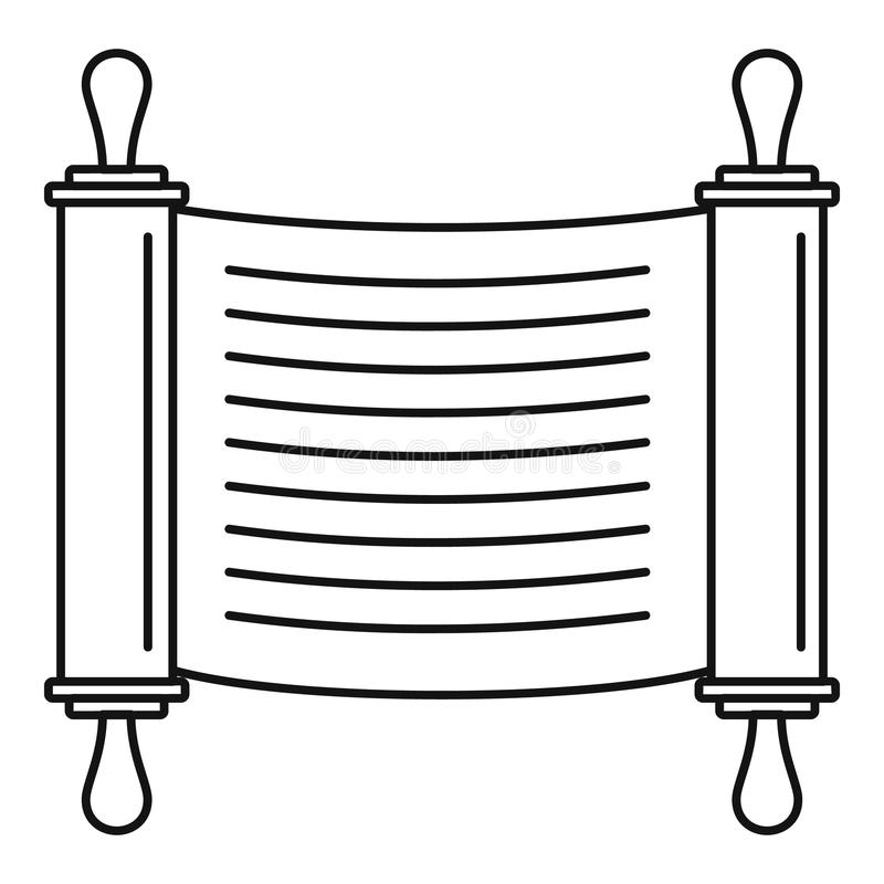 Torah scroll icon, outline style. Torah scroll icon. Outline illustration of torah scroll icon for web design isolated on white background vector illustration