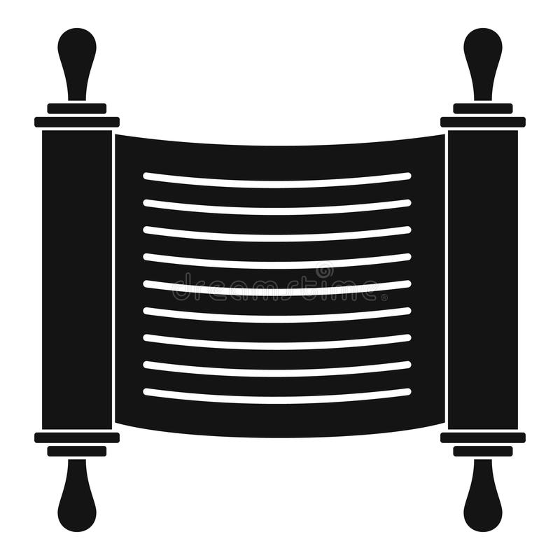 Torah scroll icon, simple style. Torah scroll icon. Simple illustration of torah scroll vector icon for web design isolated on white background stock illustration