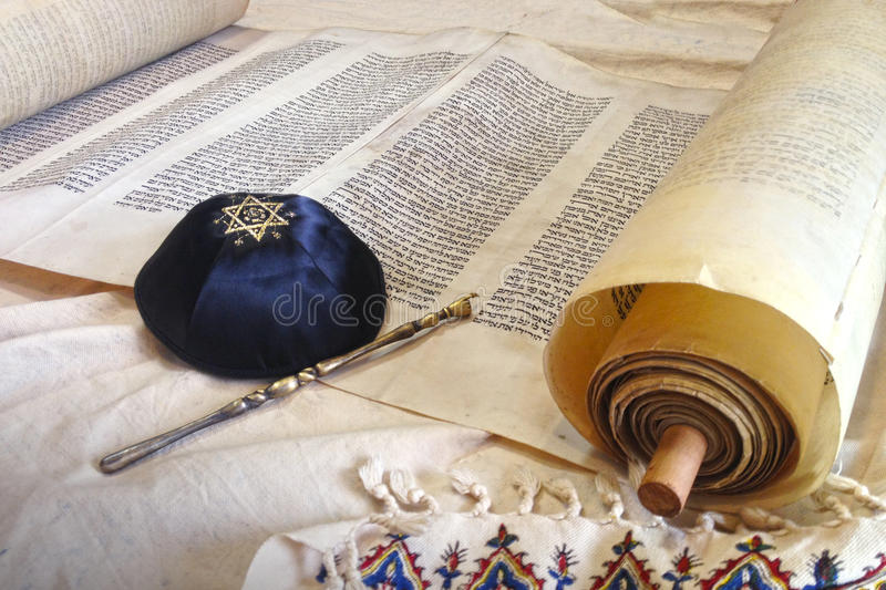 Torah scroll with Kippah royalty free stock image