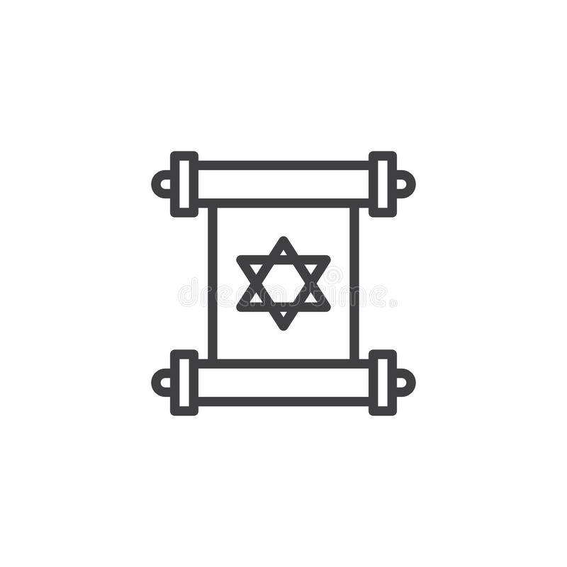 Torah scroll outline icon vector illustration