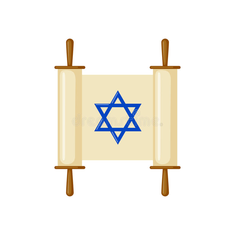Torah snirkelsymbol i plan stil stock illustrationer