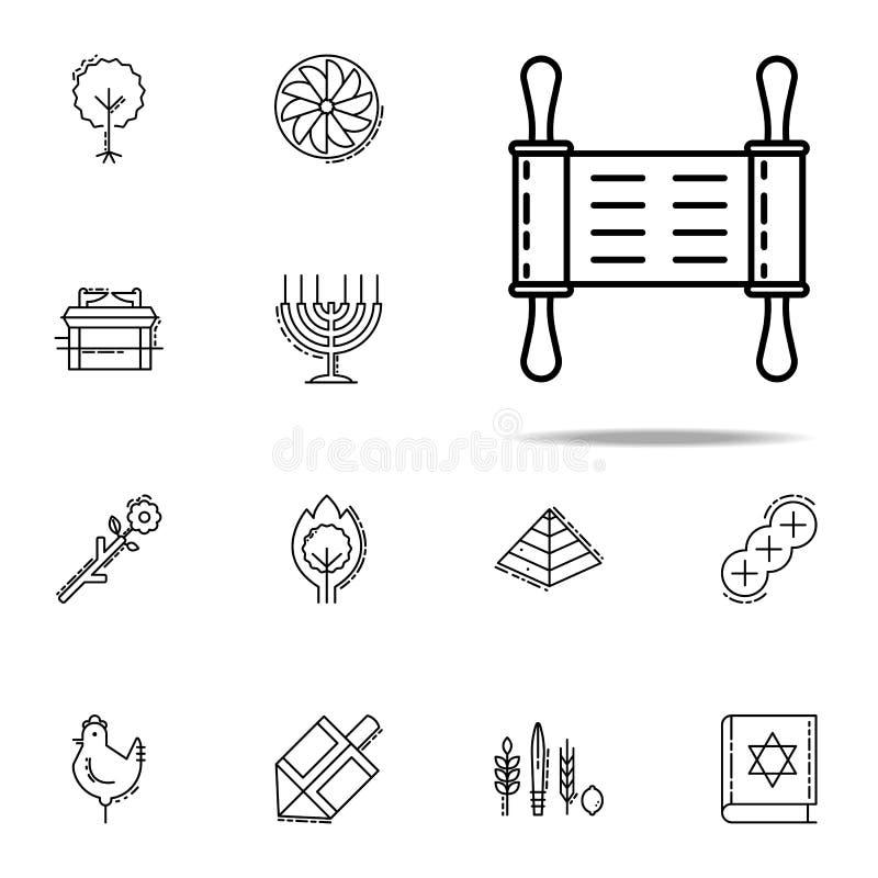 Torah symbol Universell uppsättning för judendomsymboler för rengöringsduk och mobil royaltyfri illustrationer