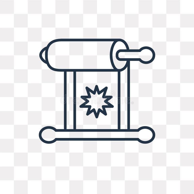 Torah vektorsymbol på genomskinlig bakgrund, linjär Tor stock illustrationer