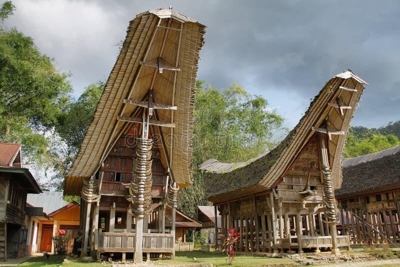 Toraja传统村庄住房在印度尼西亚 库存照片