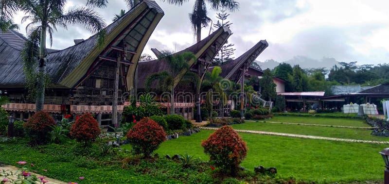Toraja房子的秀丽  免版税库存照片