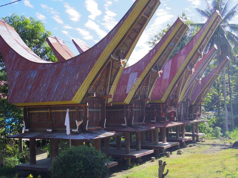 toraja σπιτιών παραδοσιακό στοκ φωτογραφίες