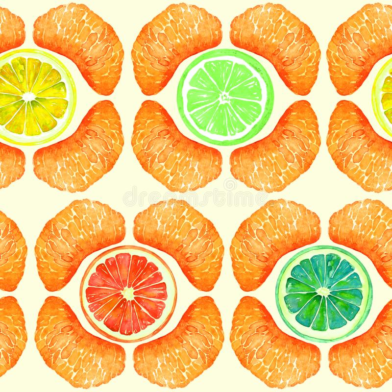 Toranja, laranja, cal e limão, seções da tangerina, fatias no formulário geométrico, projeto sem emenda do teste padrão no backgr ilustração royalty free