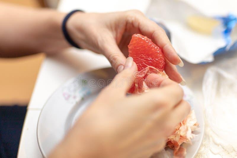 Toranja saboroso preparada para comer As mãos e as citrinas das mulheres imagens de stock